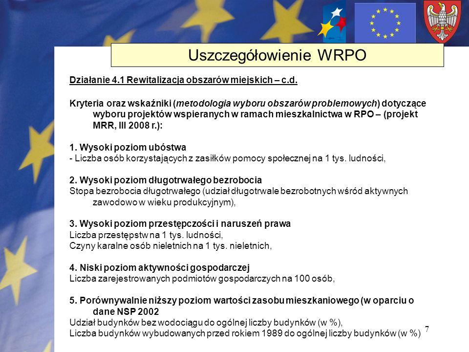 7 Działanie 4.1 Rewitalizacja obszarów miejskich – c.d. Kryteria oraz wskaźniki (metodologia wyboru obszarów problemowych) dotyczące wyboru projektów