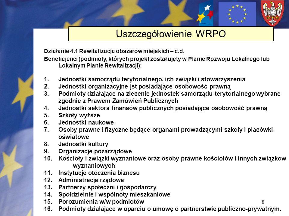 8 Działanie 4.1 Rewitalizacja obszarów miejskich – c.d. Beneficjenci (podmioty, których projekt został ujęty w Planie Rozwoju Lokalnego lub Lokalnym P