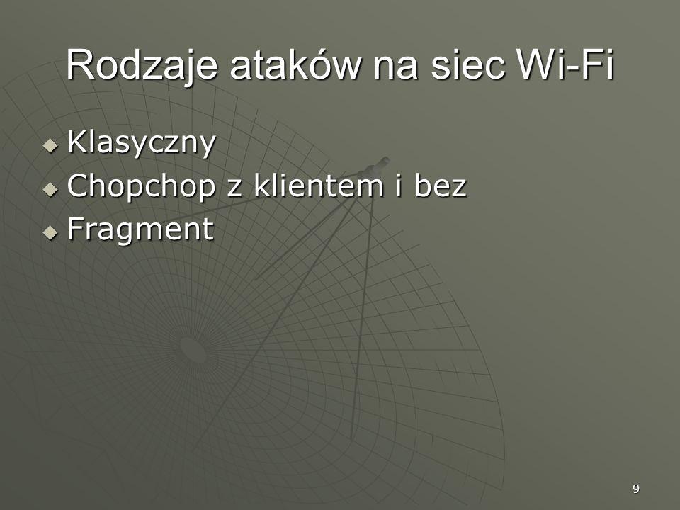 9 Rodzaje ataków na siec Wi-Fi Klasyczny Klasyczny Chopchop z klientem i bez Chopchop z klientem i bez Fragment Fragment