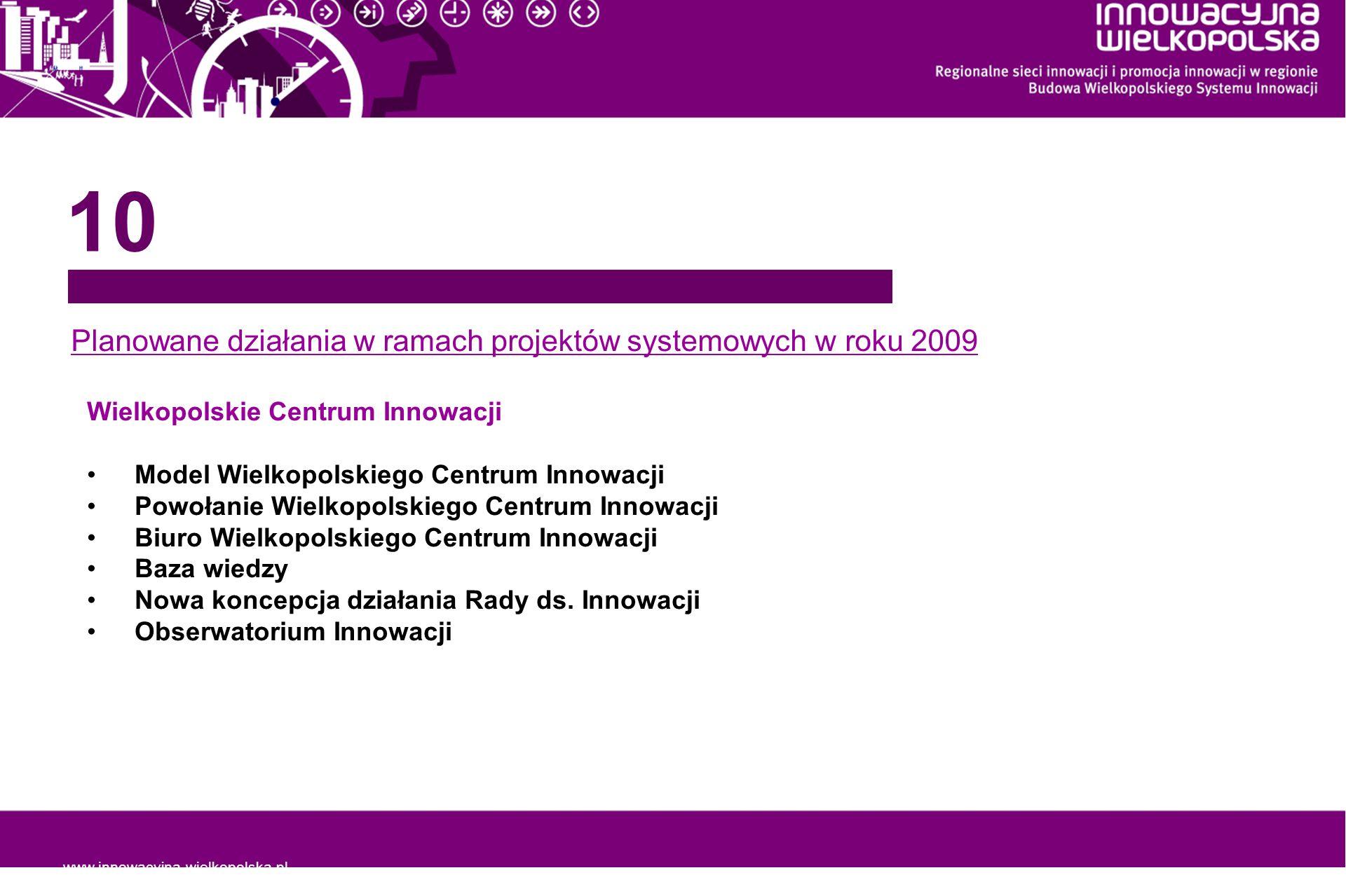 www.innowacyjna-wielkopolska.pl Planowane działania w ramach projektów systemowych w roku 2009 10 Wielkopolskie Centrum Innowacji Model Wielkopolskieg