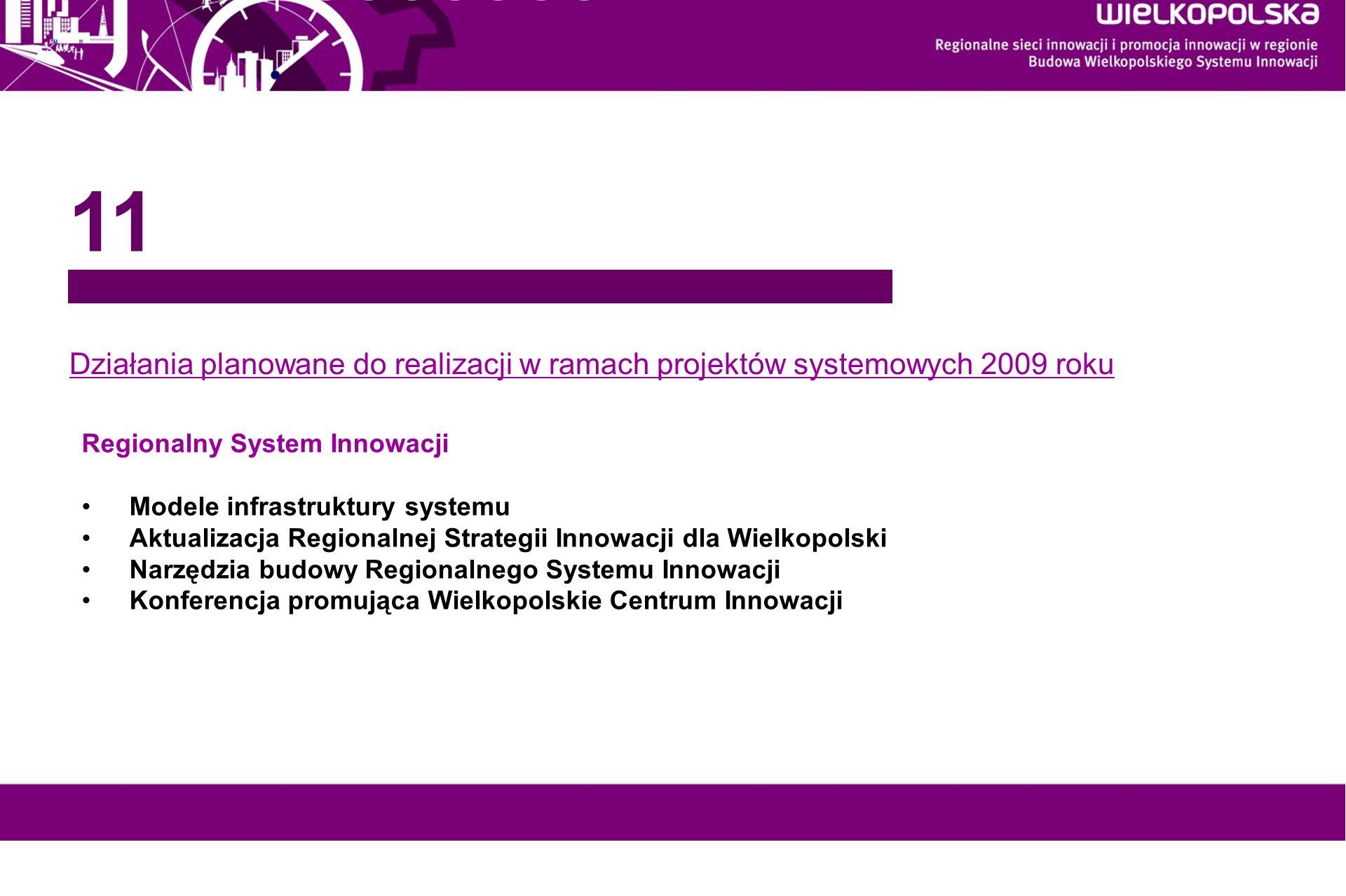 www.innowacyjna-wielkopolska.pl Działania planowane do realizacji w ramach projektów systemowych 2009 roku 11 Regionalny System Innowacji Modele infra