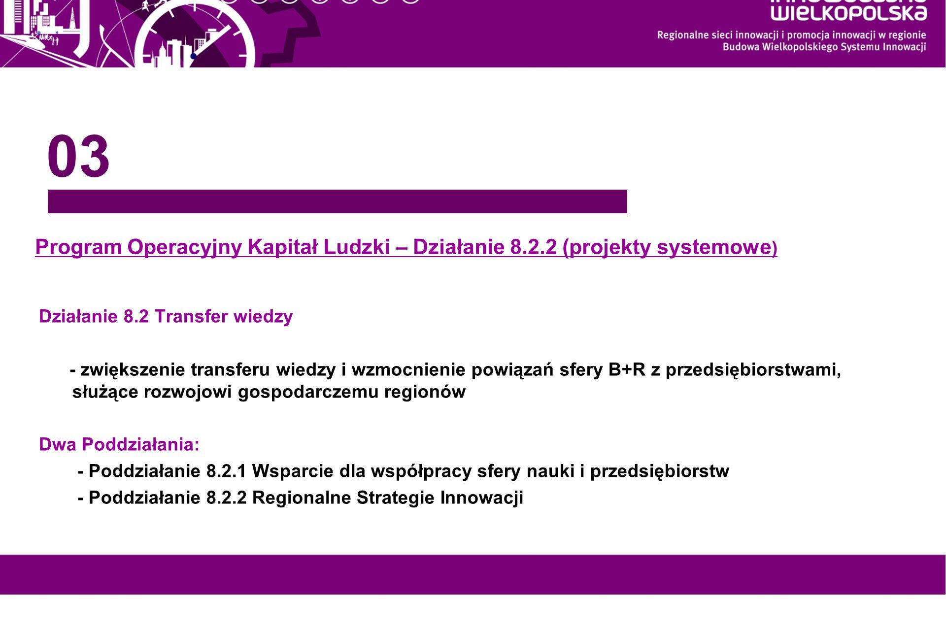 www.innowacyjna-wielkopolska.pl Program Operacyjny Kapitał Ludzki – Działanie 8.2.2 (projekty systemowe ) 03 Działanie 8.2 Transfer wiedzy - zwiększen