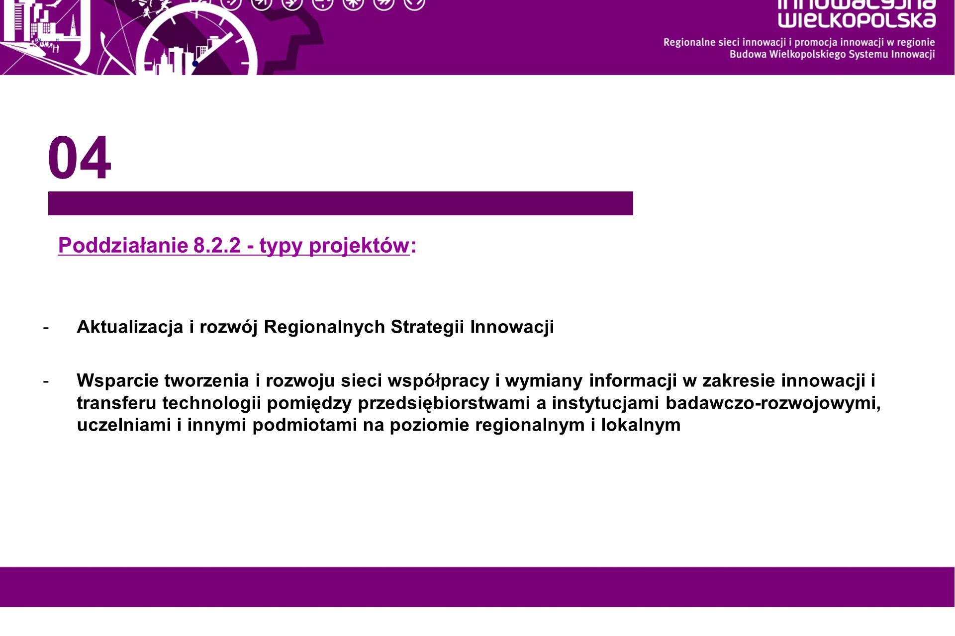 www.innowacyjna-wielkopolska.pl Poddziałanie 8.2.2 - typy projektów: 04 -Aktualizacja i rozwój Regionalnych Strategii Innowacji -Wsparcie tworzenia i