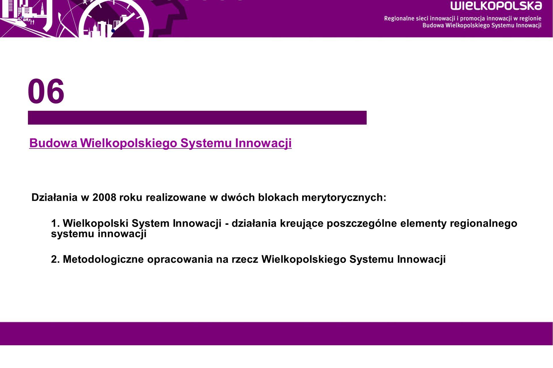 www.innowacyjna-wielkopolska.pl Budowa Wielkopolskiego Systemu Innowacji 06 Działania w 2008 roku realizowane w dwóch blokach merytorycznych: 1. Wielk