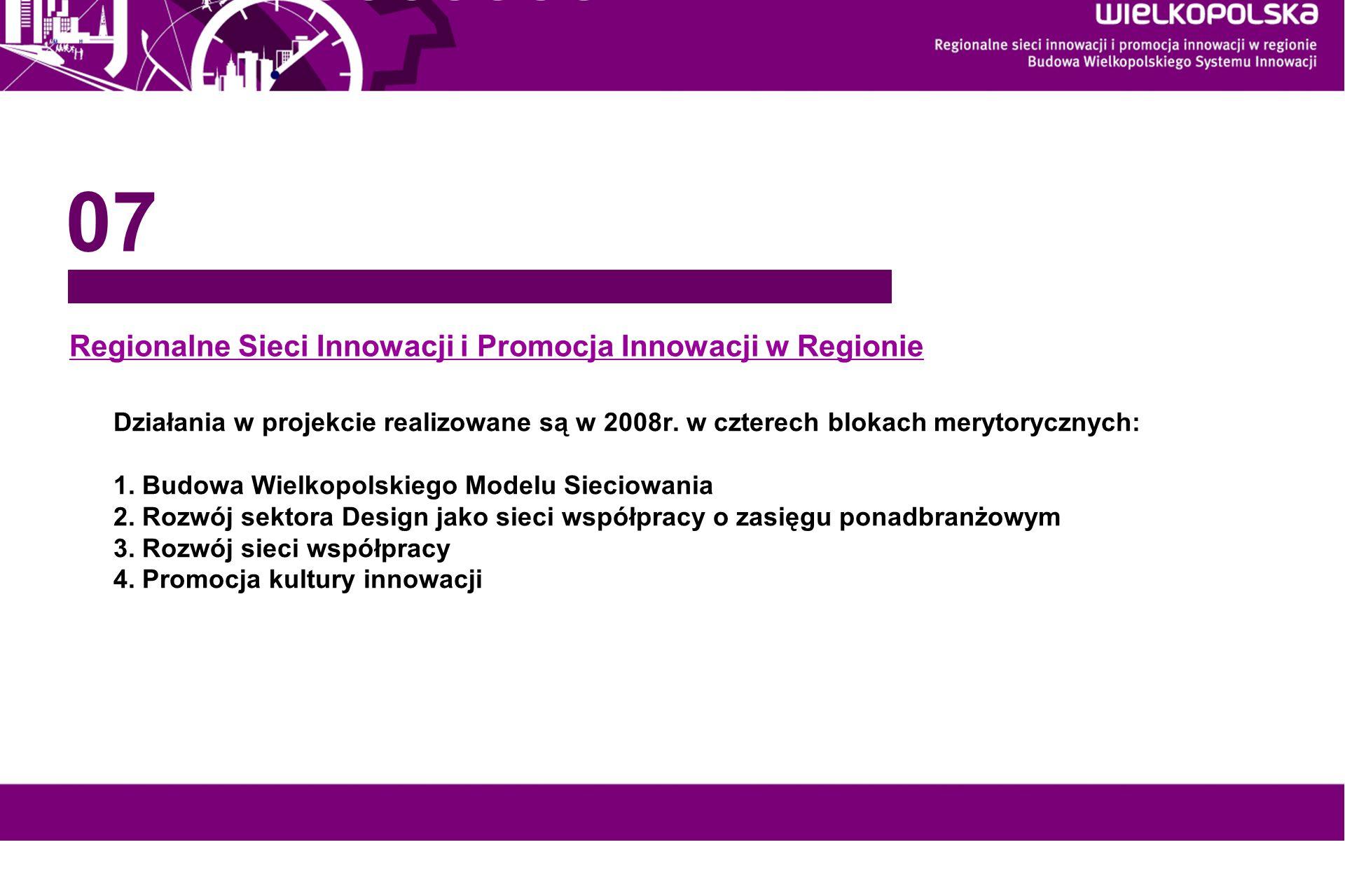 www.innowacyjna-wielkopolska.pl Regionalne Sieci Innowacji i Promocja Innowacji w Regionie 07 Działania w projekcie realizowane są w 2008r. w czterech