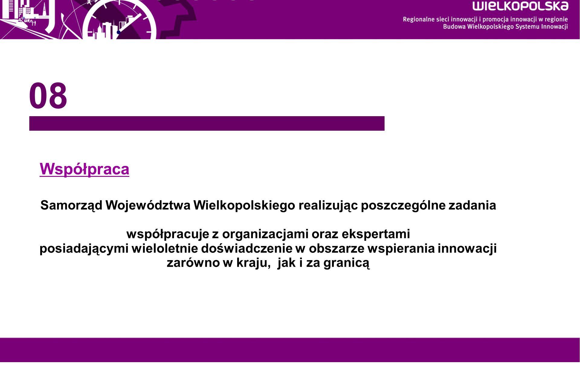 www.innowacyjna-wielkopolska.pl Współpraca Samorząd Województwa Wielkopolskiego realizując poszczególne zadania współpracuje z organizacjami oraz eksp
