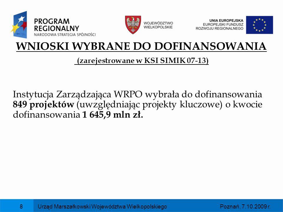 Poznań, 7.10.2009 r.Urząd Marszałkowski Województwa Wielkopolskiego8 WNIOSKI WYBRANE DO DOFINANSOWANIA (zarejestrowane w KSI SIMIK 07-13) Instytucja Z