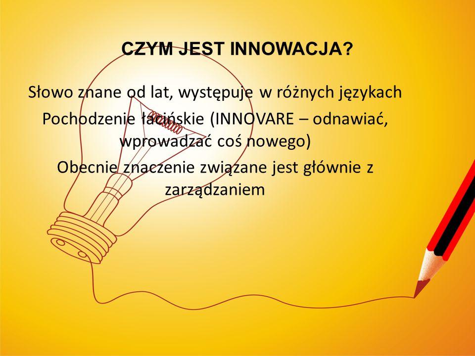Słowo znane od lat, występuje w różnych językach Pochodzenie łacińskie (INNOVARE – odnawiać, wprowadzać coś nowego) Obecnie znaczenie związane jest gł