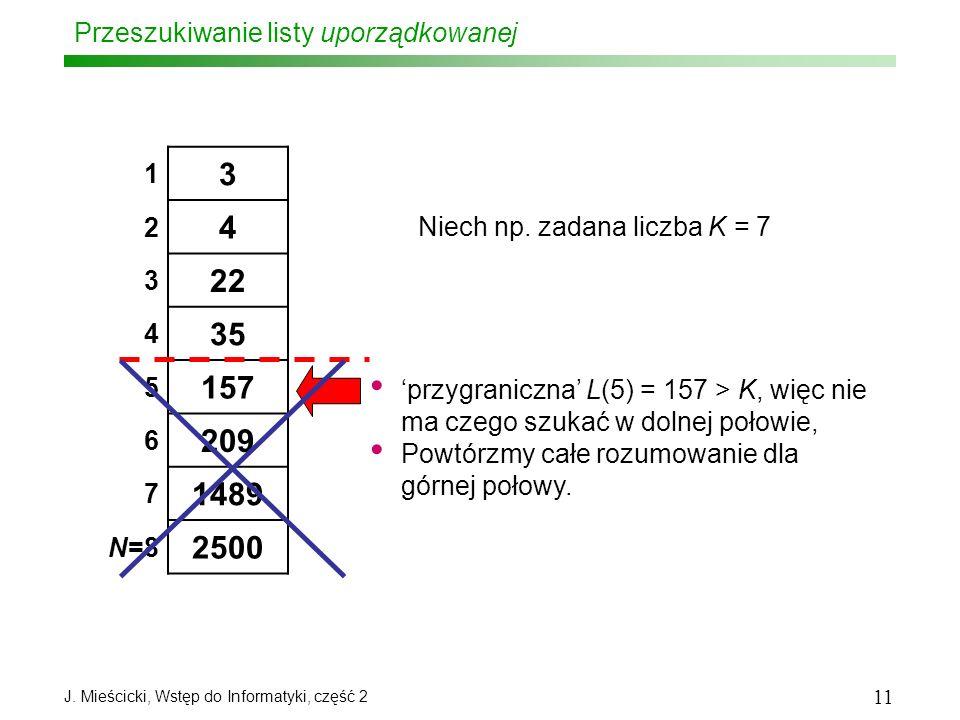 J. Mieścicki, Wstęp do Informatyki, część 2 11 Przeszukiwanie listy uporządkowanej 1 3 2 4 3 22 4 35 5 157 6 209 7 1489 N=8 2500 Niech np. zadana licz