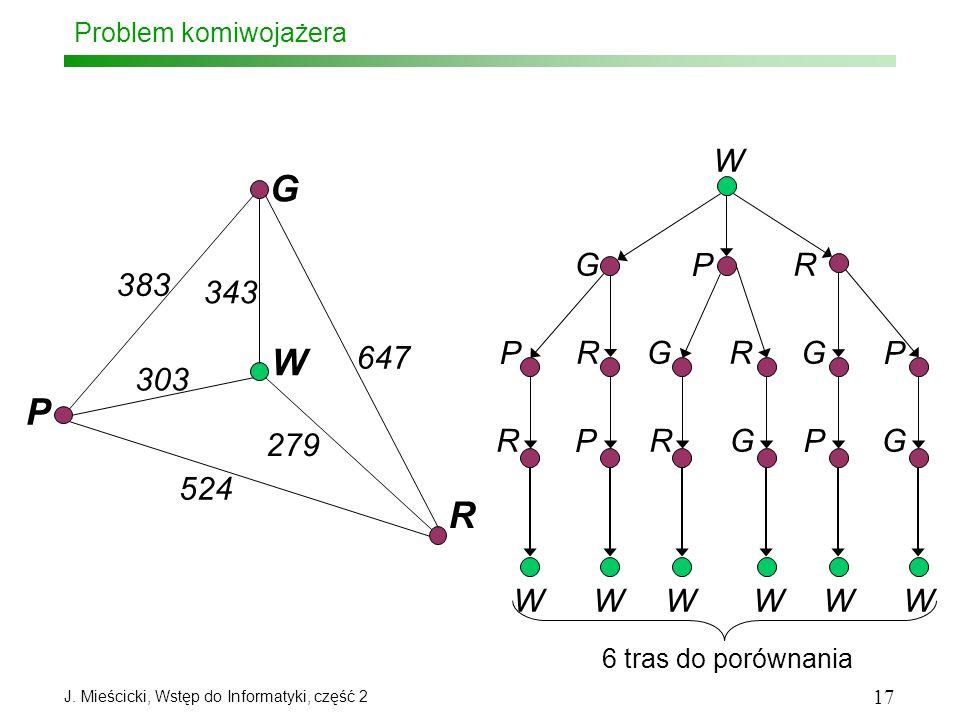 J. Mieścicki, Wstęp do Informatyki, część 2 17 Problem komiwojażera G P W R 343 303 383 647 279 524 WWWWWW W G GG P PP R R R 6 tras do porównania RR P