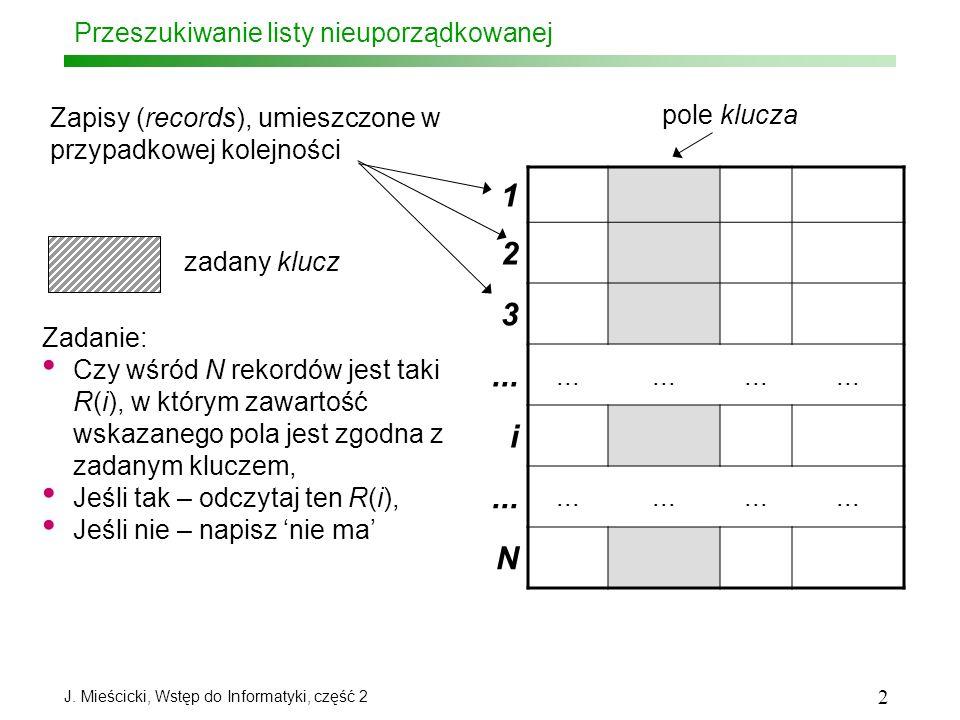 J. Mieścicki, Wstęp do Informatyki, część 2 2 Przeszukiwanie listy nieuporządkowanej 1 2 3... i N Zapisy (records), umieszczone w przypadkowej kolejno