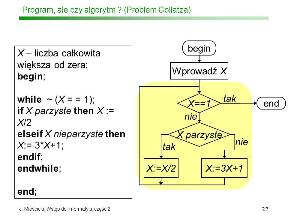 J. Mieścicki, Wstęp do Informatyki, część 2 22 Program, ale czy algorytm ? (Problem Collatza) X – liczba całkowita większa od zera; begin; while ~ (X
