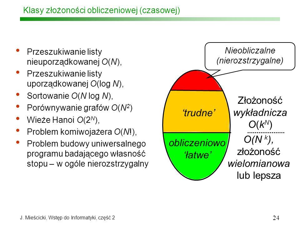 J. Mieścicki, Wstęp do Informatyki, część 2 24 Klasy złożoności obliczeniowej (czasowej) Przeszukiwanie listy nieuporządkowanej O(N), Przeszukiwanie l