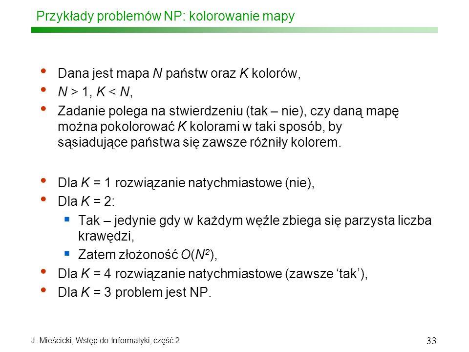 J. Mieścicki, Wstęp do Informatyki, część 2 33 Przykłady problemów NP: kolorowanie mapy Dana jest mapa N państw oraz K kolorów, N > 1, K < N, Zadanie
