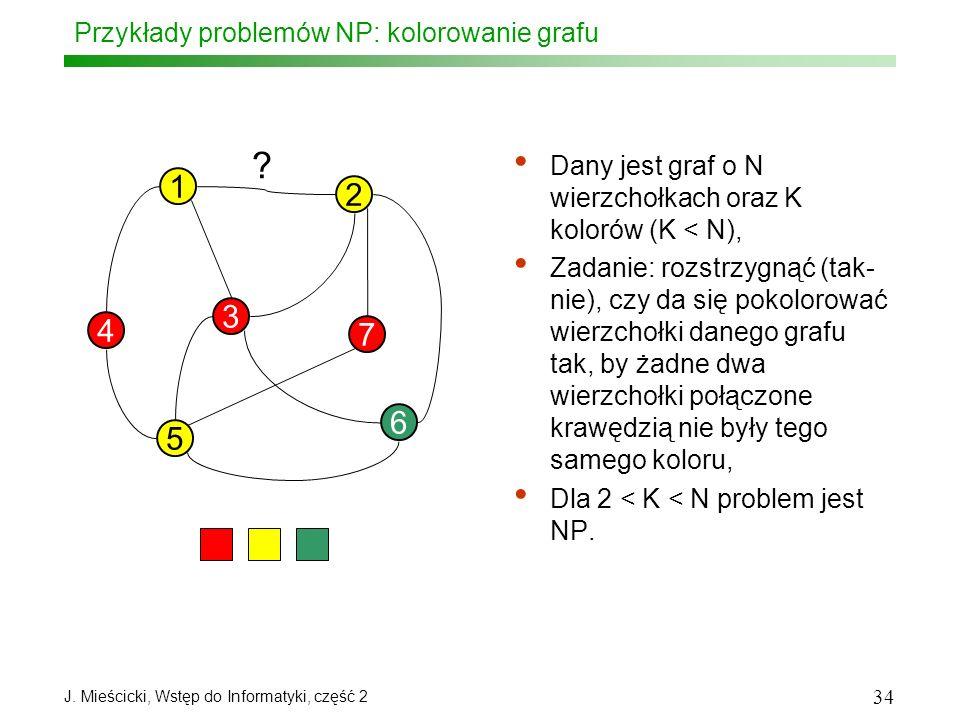 J. Mieścicki, Wstęp do Informatyki, część 2 34 Przykłady problemów NP: kolorowanie grafu Dany jest graf o N wierzchołkach oraz K kolorów (K < N), Zada