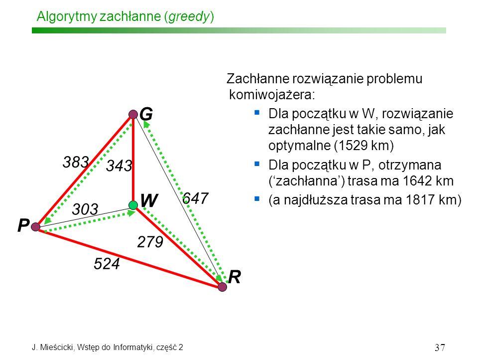 J. Mieścicki, Wstęp do Informatyki, część 2 37 Algorytmy zachłanne (greedy) Zachłanne rozwiązanie problemu komiwojażera: Dla początku w W, rozwiązanie