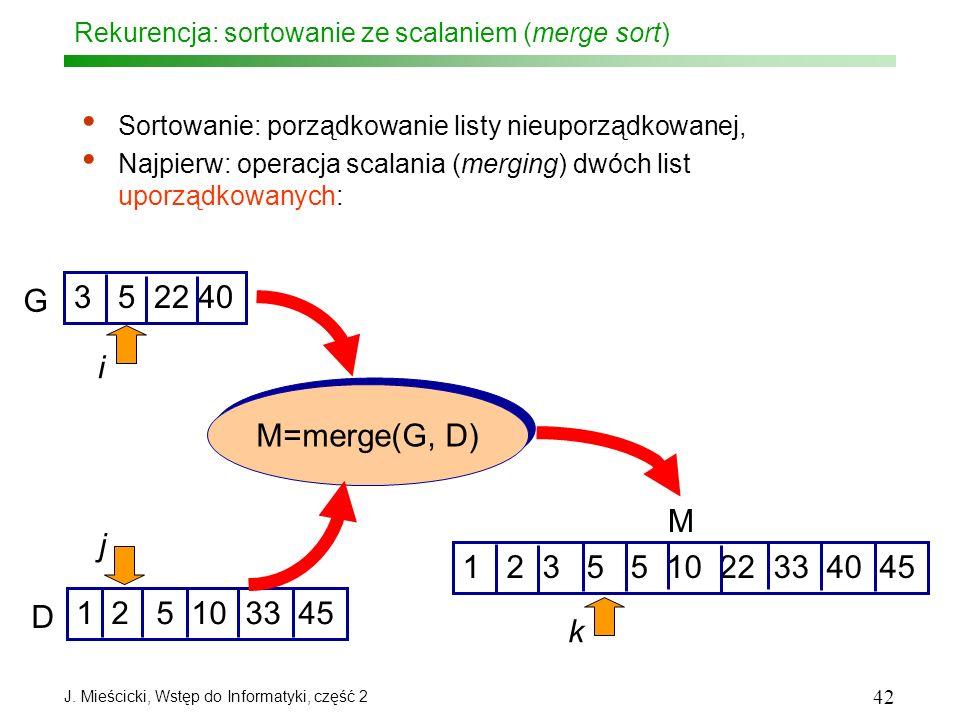 J. Mieścicki, Wstęp do Informatyki, część 2 42 Rekurencja: sortowanie ze scalaniem (merge sort) Sortowanie: porządkowanie listy nieuporządkowanej, Naj