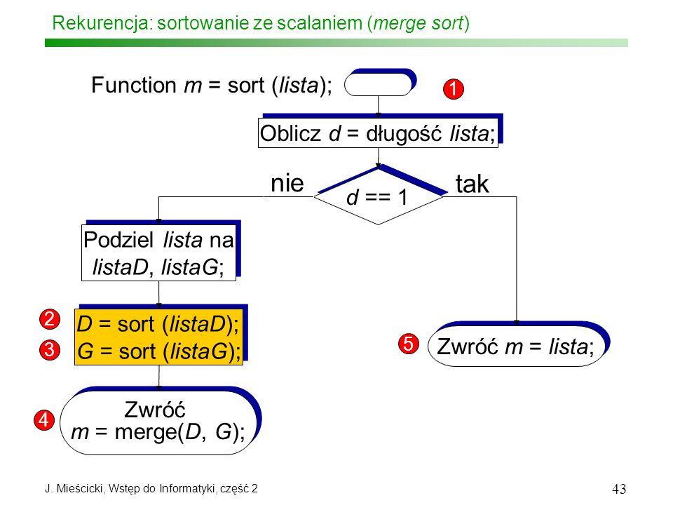 J. Mieścicki, Wstęp do Informatyki, część 2 43 Rekurencja: sortowanie ze scalaniem (merge sort) Function m = sort (lista); Oblicz d = długość lista; d