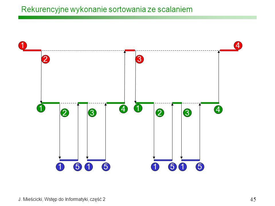 J. Mieścicki, Wstęp do Informatyki, część 2 45 Rekurencyjne wykonanie sortowania ze scalaniem 1 1 23 4 23 4 23 4 1 15151515