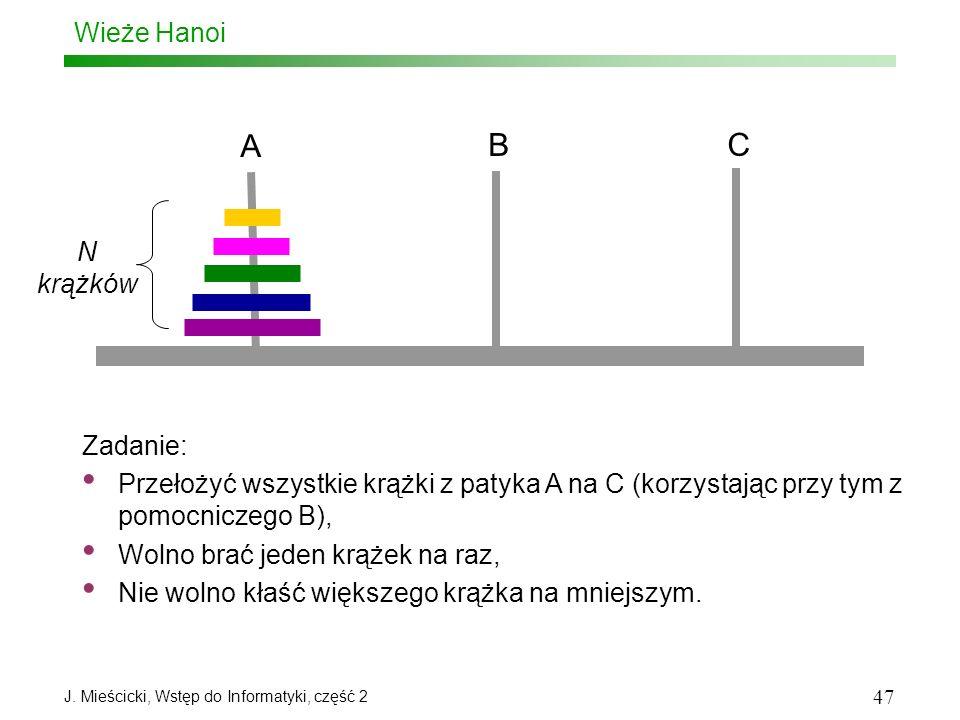 J. Mieścicki, Wstęp do Informatyki, część 2 47 Wieże Hanoi Zadanie: Przełożyć wszystkie krążki z patyka A na C (korzystając przy tym z pomocniczego B)