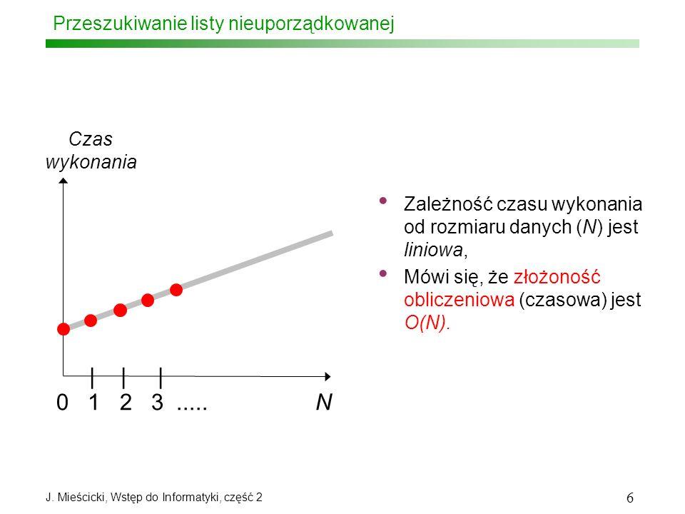 J. Mieścicki, Wstęp do Informatyki, część 2 6 Przeszukiwanie listy nieuporządkowanej 0 1 2 3..... N       Czas wykonania Zależność czasu wykonania od