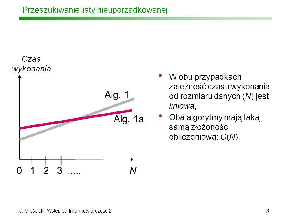J. Mieścicki, Wstęp do Informatyki, część 2 8 Przeszukiwanie listy nieuporządkowanej 0 1 2 3..... N | | | Czas wykonania Alg. 1 Alg. 1a W obu przypadk