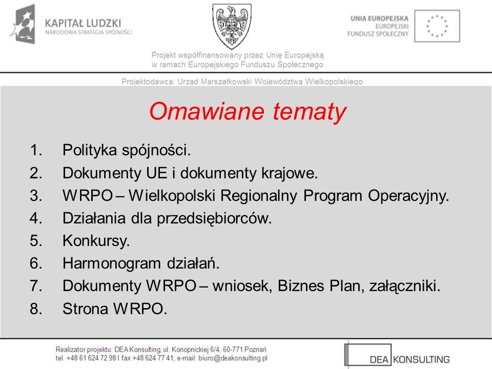 1.Polityka spójności. 2.Dokumenty UE i dokumenty krajowe. 3.WRPO – Wielkopolski Regionalny Program Operacyjny. 4.Działania dla przedsiębiorców. 5.Konk