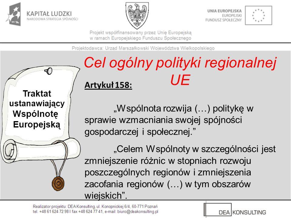 Traktat ustanawiający Wspólnotę Europejską Cel ogólny polityki regionalnej UE Artykuł 158: Wspólnota rozwija (…) politykę w sprawie wzmacniania swojej