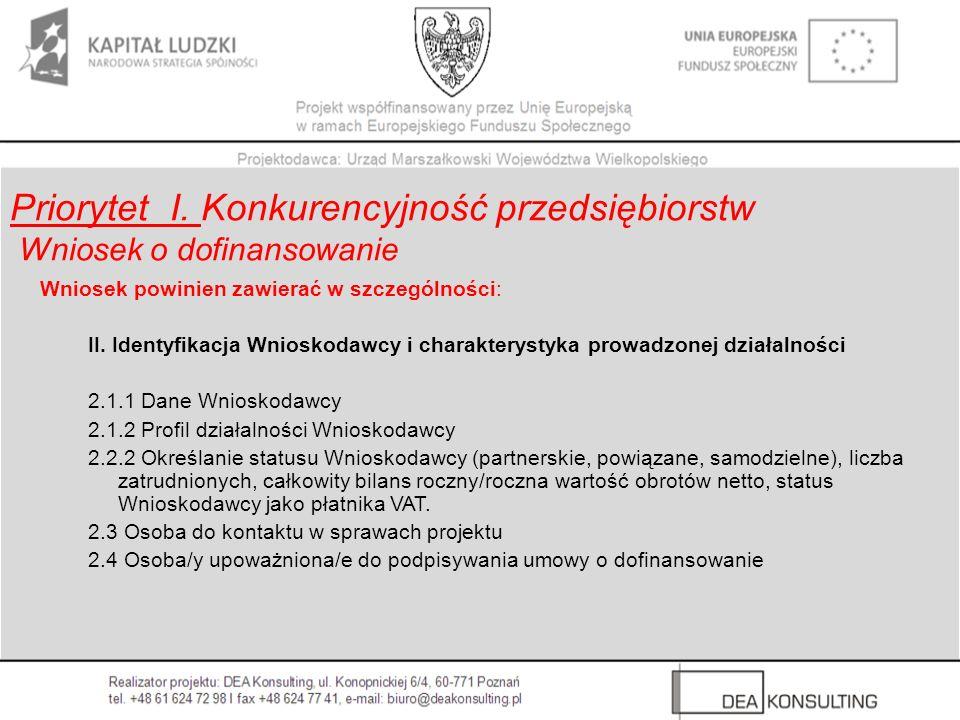 Wniosek powinien zawierać w szczególności: II. Identyfikacja Wnioskodawcy i charakterystyka prowadzonej działalności 2.1.1 Dane Wnioskodawcy 2.1.2 Pro
