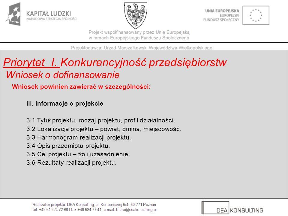 Wniosek powinien zawierać w szczególności: III. Informacje o projekcie 3.1 Tytuł projektu, rodzaj projektu, profil działalności. 3.2 Lokalizacja proje