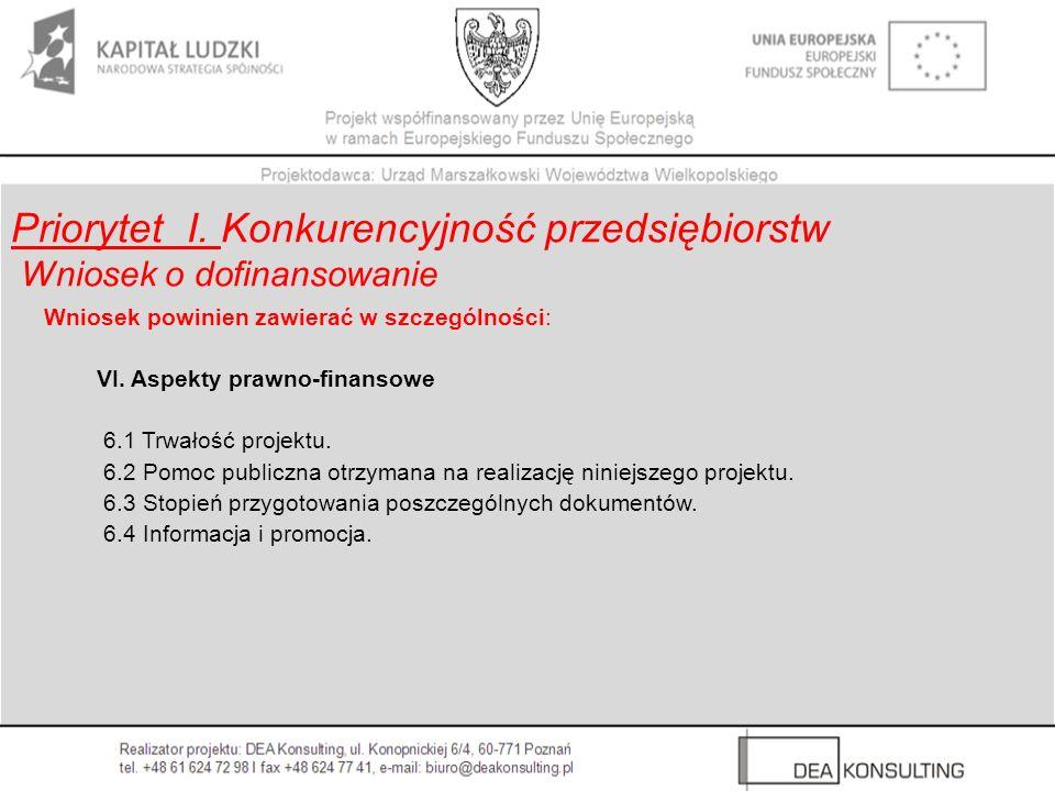 Wniosek powinien zawierać w szczególności: VI. Aspekty prawno-finansowe 6.1 Trwałość projektu. 6.2 Pomoc publiczna otrzymana na realizację niniejszego