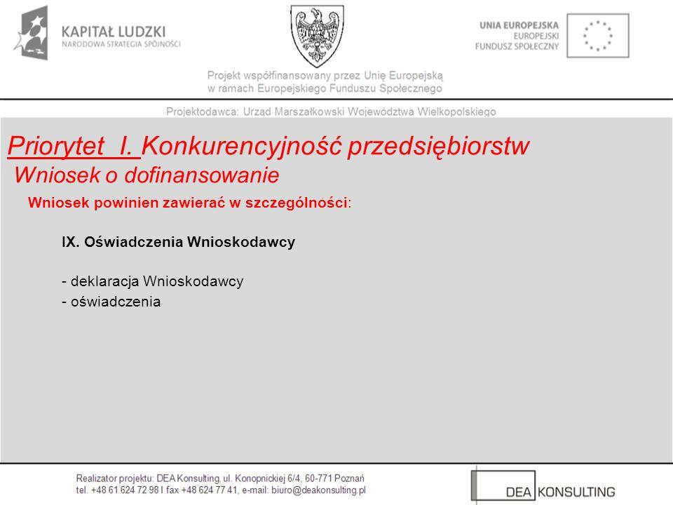 Wniosek powinien zawierać w szczególności: IX. Oświadczenia Wnioskodawcy - deklaracja Wnioskodawcy - oświadczenia Priorytet I. Konkurencyjność przedsi