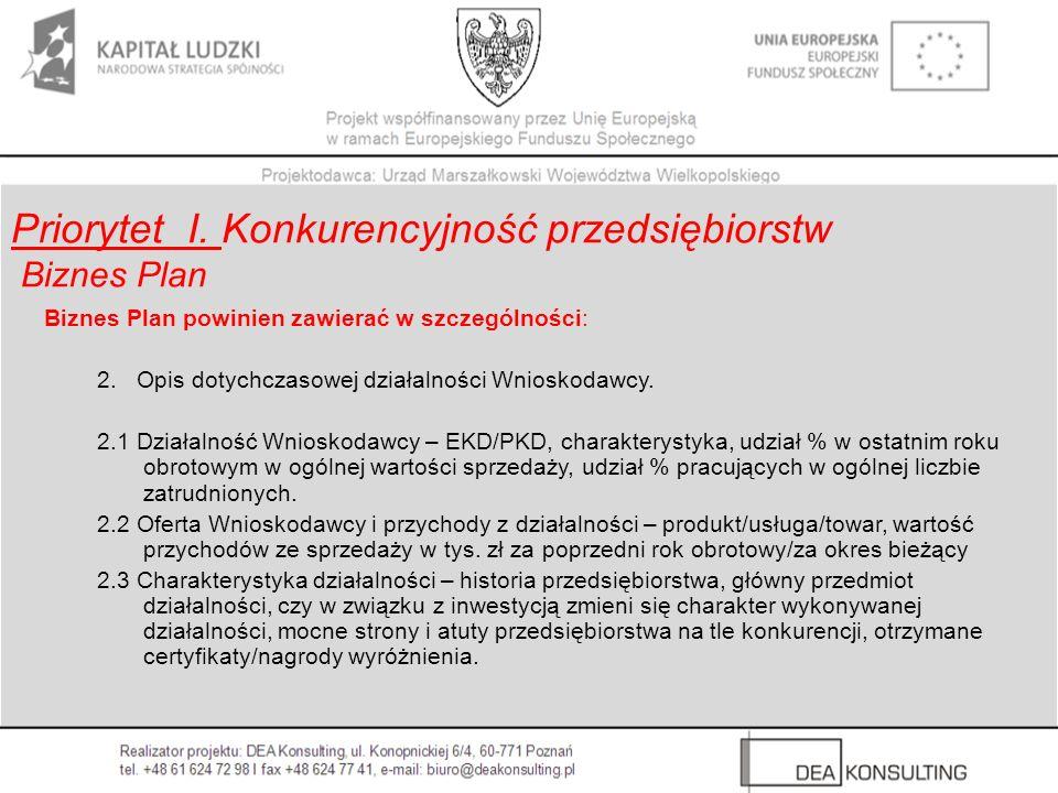 Biznes Plan powinien zawierać w szczególności: 2. Opis dotychczasowej działalności Wnioskodawcy. 2.1 Działalność Wnioskodawcy – EKD/PKD, charakterysty
