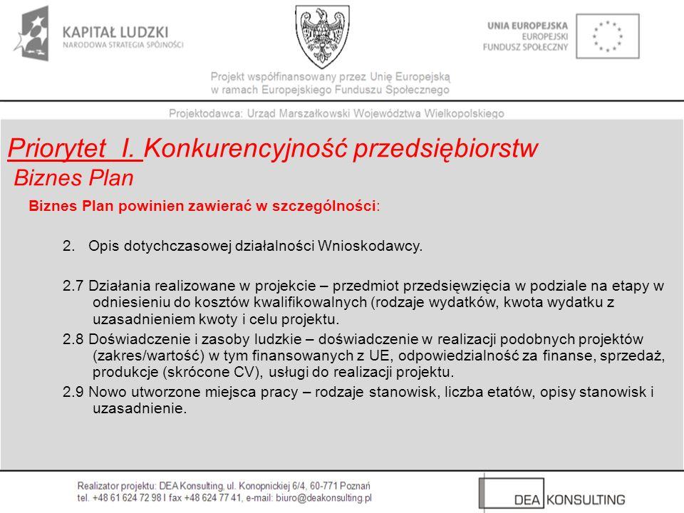Biznes Plan powinien zawierać w szczególności: 2. Opis dotychczasowej działalności Wnioskodawcy. 2.7 Działania realizowane w projekcie – przedmiot prz
