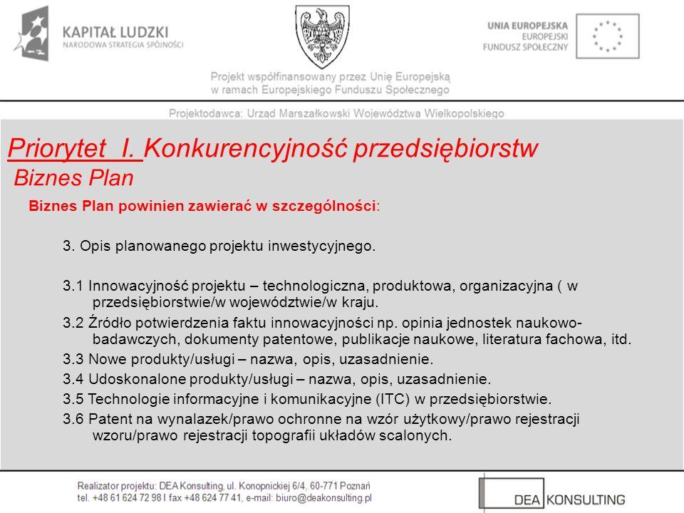 Biznes Plan powinien zawierać w szczególności: 3. Opis planowanego projektu inwestycyjnego. 3.1 Innowacyjność projektu – technologiczna, produktowa, o