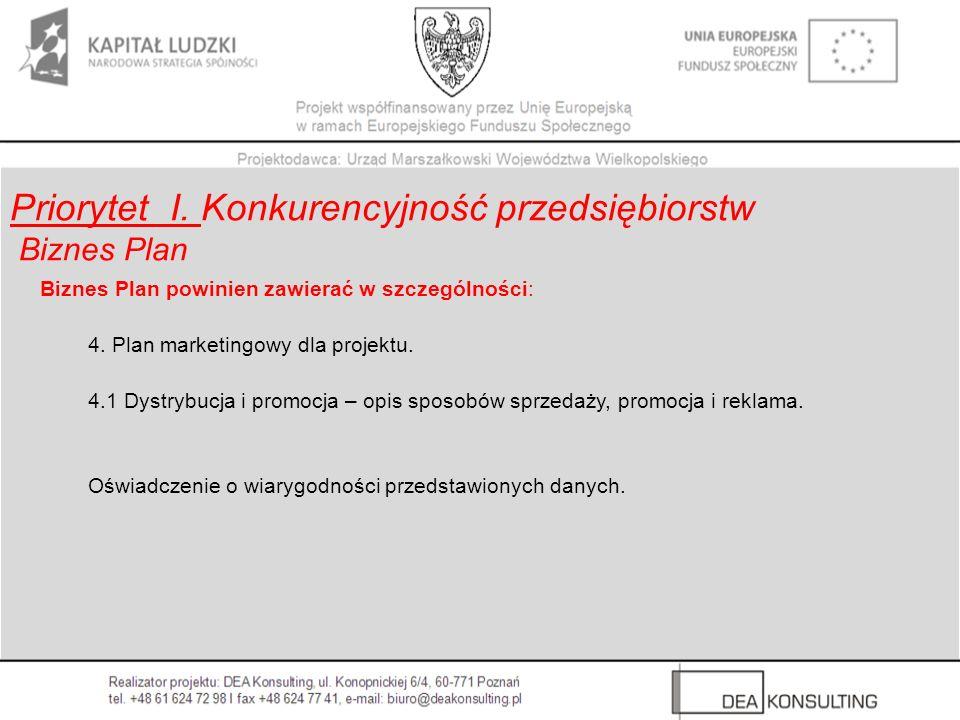Biznes Plan powinien zawierać w szczególności: 4. Plan marketingowy dla projektu. 4.1 Dystrybucja i promocja – opis sposobów sprzedaży, promocja i rek