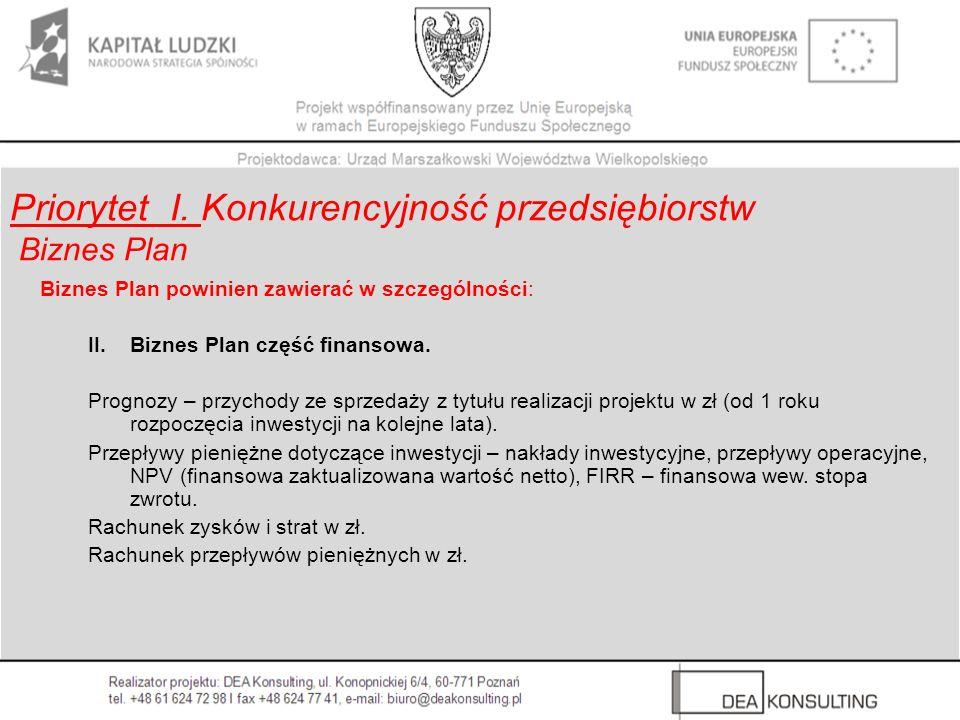 Biznes Plan powinien zawierać w szczególności: II. Biznes Plan część finansowa. Prognozy – przychody ze sprzedaży z tytułu realizacji projektu w zł (o