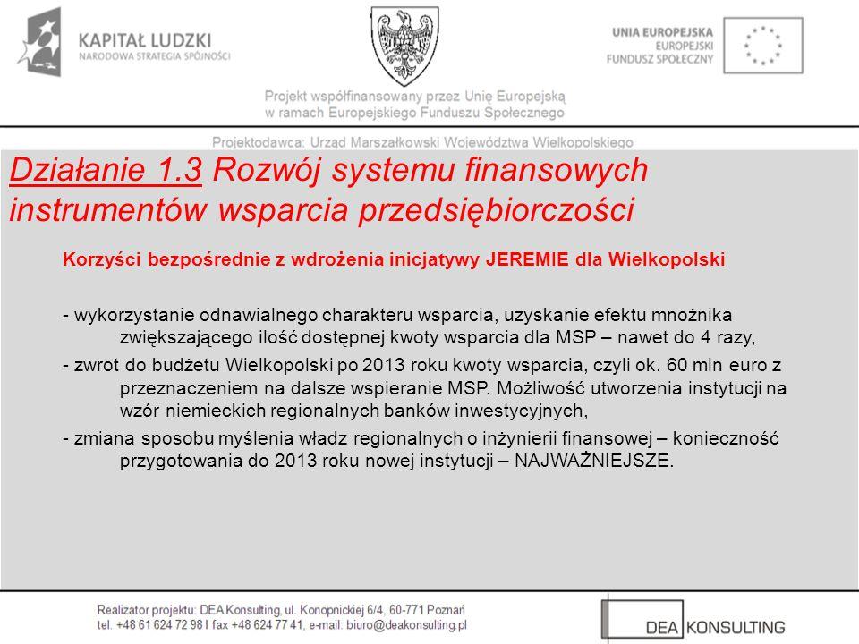 Korzyści bezpośrednie z wdrożenia inicjatywy JEREMIE dla Wielkopolski - wykorzystanie odnawialnego charakteru wsparcia, uzyskanie efektu mnożnika zwię