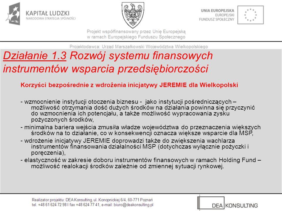 Korzyści bezpośrednie z wdrożenia inicjatywy JEREMIE dla Wielkopolski - wzmocnienie instytucji otoczenia biznesu - jako instytucji pośredniczących – m