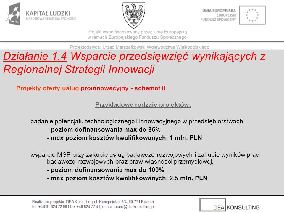 Projekty oferty usług proinnowacyjny - schemat II Przykładowe rodzaje projektów: badanie potencjału technologicznego i innowacyjnego w przedsiębiorstw