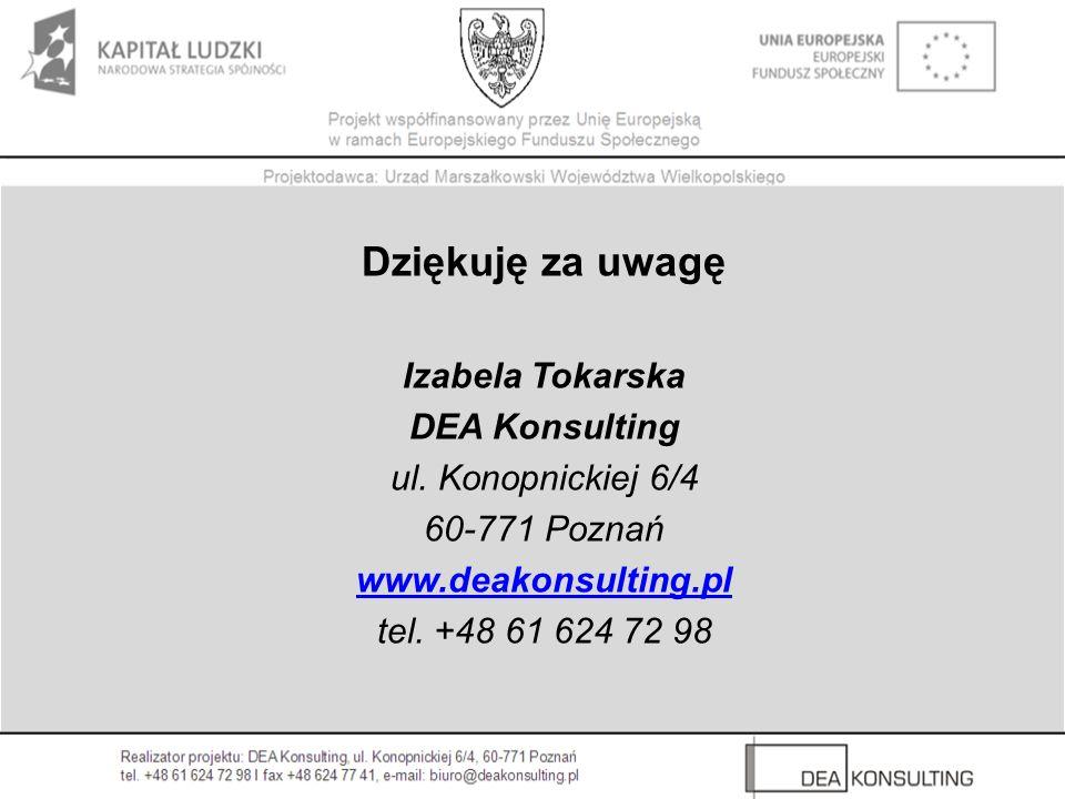 Dziękuję za uwagę Izabela Tokarska DEA Konsulting ul. Konopnickiej 6/4 60-771 Poznań www.deakonsulting.pl tel. +48 61 624 72 98