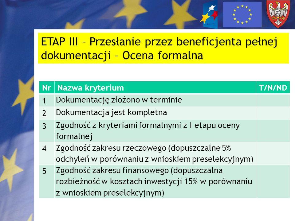 ETAP III – Przesłanie przez beneficjenta pełnej dokumentacji – Ocena formalna NrNazwa kryteriumT/N/ND 1 Dokumentację złożono w terminie 2 Dokumentacja