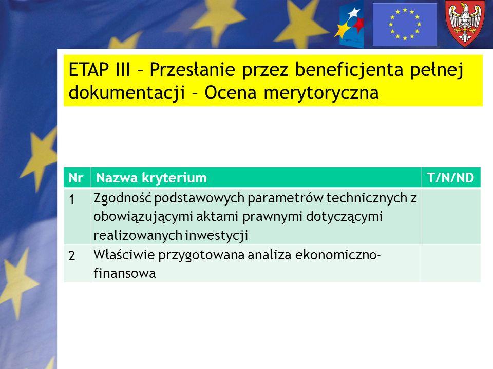 ETAP III – Przesłanie przez beneficjenta pełnej dokumentacji – Ocena merytoryczna NrNazwa kryteriumT/N/ND 1 Zgodność podstawowych parametrów techniczn