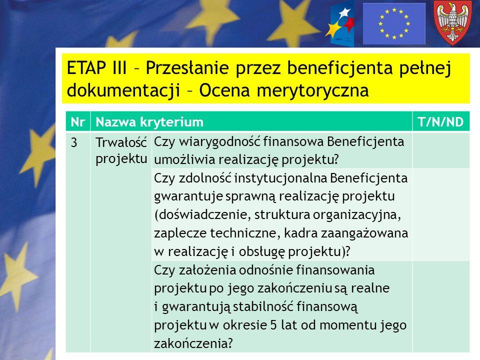 ETAP III – Przesłanie przez beneficjenta pełnej dokumentacji – Ocena merytoryczna NrNazwa kryteriumT/N/ND 3Trwałość projektu Czy wiarygodność finansow
