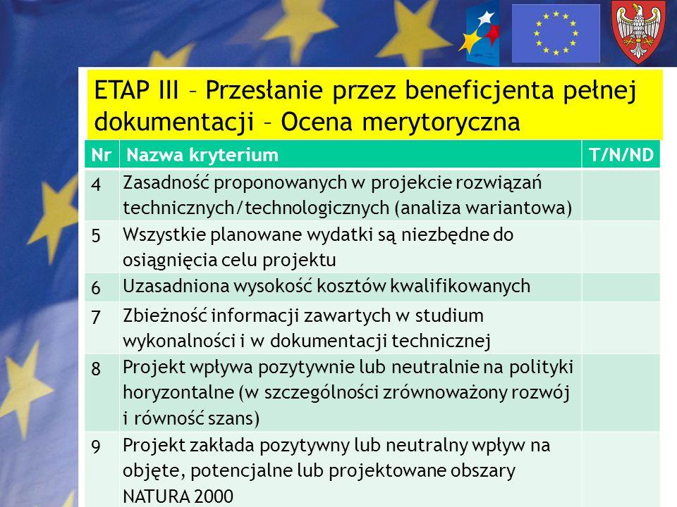 ETAP III – Przesłanie przez beneficjenta pełnej dokumentacji – Ocena merytoryczna NrNazwa kryteriumT/N/ND 4 Zasadność proponowanych w projekcie rozwią