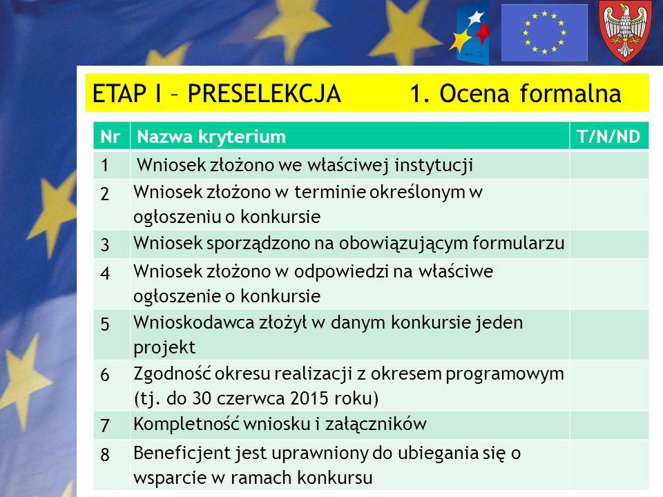 ETAP I – PRESELEKCJA 1. Ocena formalna NrNazwa kryteriumT/N/ND 1Wniosek złożono we właściwej instytucji 2 Wniosek złożono w terminie określonym w ogło