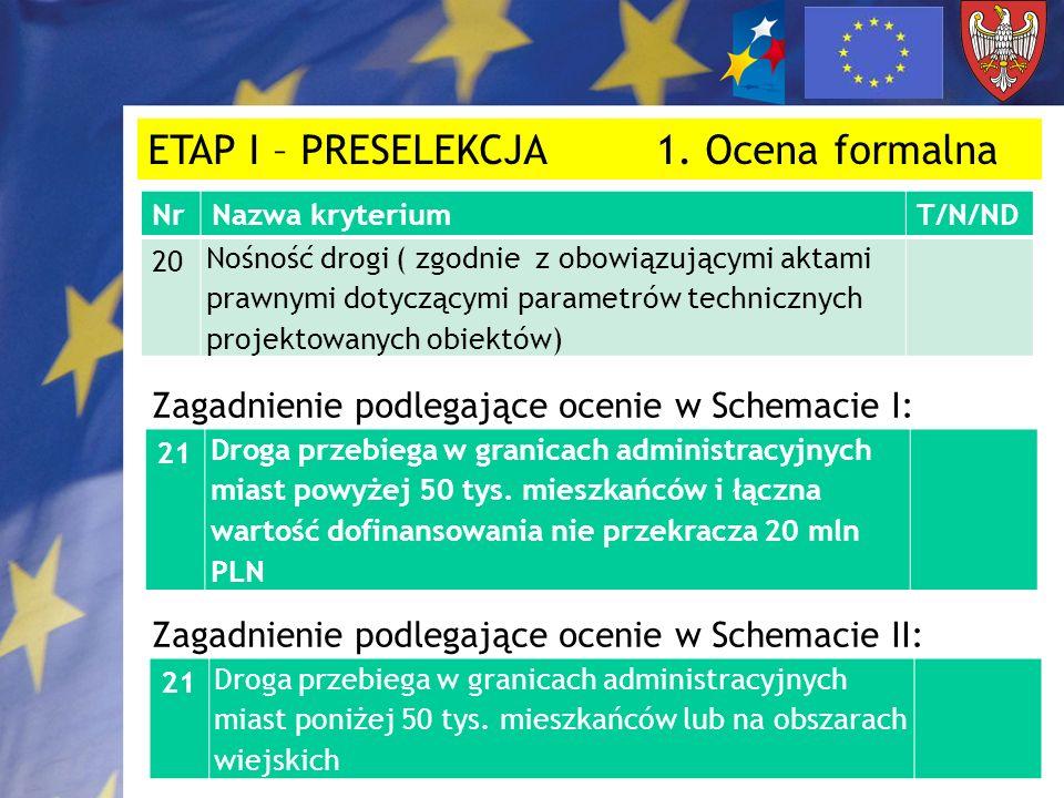 ETAP I – PRESELEKCJA 1. Ocena formalna NrNazwa kryteriumT/N/ND 20 Nośność drogi ( zgodnie z obowiązującymi aktami prawnymi dotyczącymi parametrów tech
