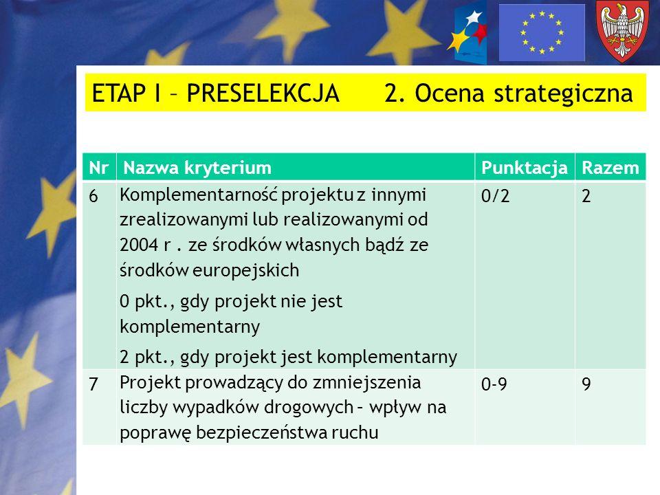 NrNazwa kryteriumPunktacjaRazem 8 Projekt stanowi kontynuację budowy/przebudowy innej drogi gminnej, powiatowej, wojewódzkiej poza granicami gminy, powiatu, województwa – zapewnienie ciągłości odcinka bezpośrednio przylegającego do granic gminy, powiatu, województwa 0 pkt., gdy nie stanowi kontynuacji 2 pkt., gdy stanowi kontynuację (nie wcześniejszą niż z 2004 roku) 0/22 ETAP I – PRESELEKCJA 2.