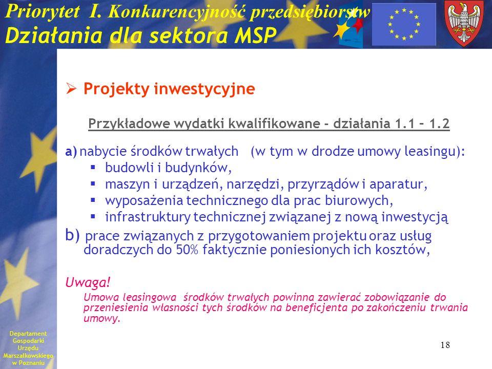 18 Priorytet I. Konkurencyjność przedsiębiorstw Działania dla sektora MSP Projekty inwestycyjne Przykładowe wydatki kwalifikowane - działania 1.1 – 1.