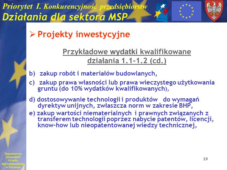 19 Priorytet I. Konkurencyjność przedsiębiorstw Działania dla sektora MSP Projekty inwestycyjne Przykładowe wydatki kwalifikowane działania 1.1-1.2 (c